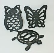 Set Of 3 Cast Iron Trivets Figural Turtle Owl And Butterfly Vintage 1970s M762