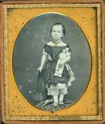 Young Girl Standing In A Chair Holding Her Toy Doll 1/6 Plate Daguerreotype
