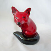 Royal Doulton Flambe Oxblood Red Seated Fox, Charles Noke Figurine