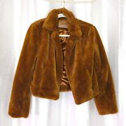 Ex Bomber Jacket Crop Length Puffy Camel Faux Fur With Silk Lining