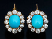 10ct Antique Victorian Turquoise And Diamond Cluster Earrings Yellow Gold Finish