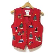 Vtg Red Felted Wool Blend Ugly Christmas Sweater Vest Holiday Party Penguin Sz S