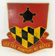 Vintage 1st Battalion 70th Field Artillery Oand039er The Rampart We Watch Wood Sign