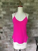 100 Silk Rory Beca Cruz Side Slit Cami Top Pink Size Xs Freshly Drycleaned 152