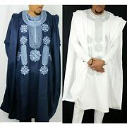 African Suit Men Robe Shirt Pants Set Long Sleeve Tops Embroidery Agbada Clothes