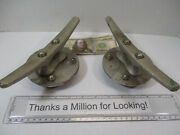 2 Vintage Cast Boat Cleat 8 Cleats Sailboat Dock Mounted On Pipe Flange