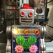 Horikawa Toys Vintage 1960 Gear Robot Silver Made In Japan Collectible Tin Toy