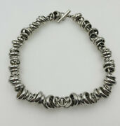 Pomellato 67 Italy Authentic Sterling Silver Heavy Link Toggle Chain Necklace