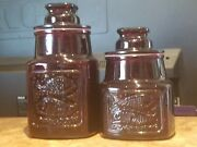 Vintage Wheaton Nj Glass Co. Ruby Red Jar Pressed Design Heart And Fish Set Of 2