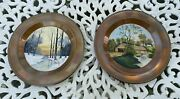 Pair Of Avon Copper Arts And Crafts Charger Oil Painting 12 Plaques Plates