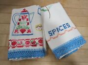 Lot- 2 Vintage Old Fashioned Cotton Linen Embroidered And Crocheted Dish Towels Ec