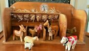 Vintage Toy Horse Wood Barn - Stalls Wooden Animals, Horse, Sheep, Cow, Donkey