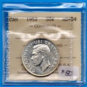 Canada 1952 50 Cents Fifty Cents Silver Coin - Iccs Ms-64