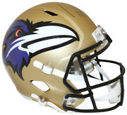 Ray Lewis Autographed/signed Baltimore Ravens F/s Amp Helmet Bas 28512