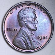 1925 Lincoln Wheat Cent Penny Choice Bu Toned Free Shipping E156 Af