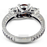 1 1/2ct Red Si1 Round Natural Certified Diamonds Plat Classic Three-stone Ring