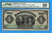 1 1911 Dominion Of Canada Note Series H Green Line Dc-18c - Pmg Vf-20