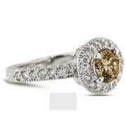 2 1/4ct Brown Si1 Round Earth Mined Certified Diamonds 14k Halo Side-stone Ring