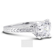 1 1/2ct G Si2 Round Natural Diamonds 18k Vintage Style Side-stone Ring