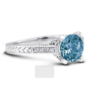 1 1/2ct Blue Si1 Round Natural Diamonds 18k Vintage Style Side-stone Ring