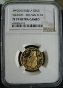 1993-m Russia Gold 50 Roubles Ngc Pf-70 Ult.cameo Wildlife-brown Bear