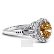 1.79ct Brown Si1 Round Natural Certified Diamonds 18k Gold Halo Side-stone Ring