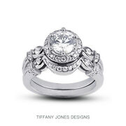 1.14ct G-vs2 Round Natural Certified Diamonds 14k Halo Ring With Matching Band