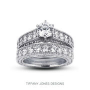 1.79ct I-vs2 Round Natural Diamonds 14k Vintage Style Ring With Wedding Band