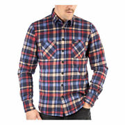 Rokker Lakewood Fashionable Casual Wear Slim Fit Shirt Blue / Red