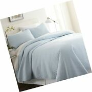 Becky Cameron Quilted Coverlet Set Herring Patterned Queen Pale Blue