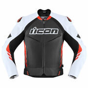 Icon Hypersport 2 Prime Motorcycle Motorbike Leather Jacket Black / Red