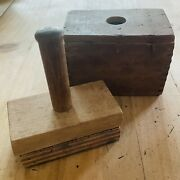 Vintage Wooden Butter Mold Crest Coat Of Arms Rectangular Box Dovetailed Press