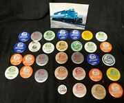 Vintage Lot Of 32 Galesburg Railroad Days Illinois Pinback Buttons 1979-1990