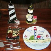 Beach And Nautical Theme Decorative Items Plate-windchime-lighthouse Candle Nice L