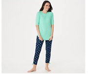 Cuddl Duds Smart Comfort Short Sleeve Tee And Cropped Pant Set Green/cactus Small