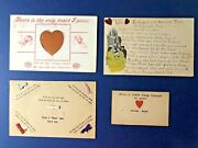 4 Unique Novelty Valentine's Day Antique Postcards 1900s. Hand Made, Ribbons