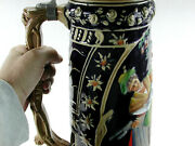 Old 4l Hand Painted Beer Stein A Merry Man Gets All The Girls Germany - Huge