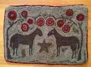 Vintage Primative Folk Art Double Horse Star Hooked Penny Rug 24.5andrdquox 17andrdquo