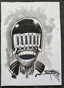 Judge Death Sketch-hand Drawn Colored And Signed Barry Kitson W/coa 9x12