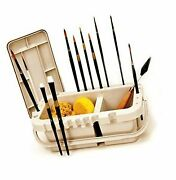 Portable Paint Brush Caddy And Holder With Storage Lid And Water Troughs 10.5...