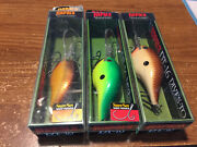 Lot Of 3 Rapala Balsa Dt-16 Lures Discontinued Color Nips