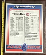 1995 March18 Nordiques/canadiensofficial Game Lineup Photo +2 Ticket Stubsnm