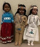 Vintage Carlson Native American Indian Collector Dolls 11 Inch Lot Of 3