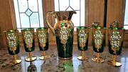 Antique Emerald Green And Gold Plated Pitcher And 6 Footed Goblets Tumblers Italy