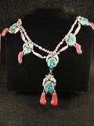 D Lee 0.925 Sterling Silver Turquoise Coral Vintage Hand Wrought 18 Necklace