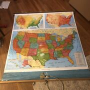 Cram Pull Down United States Map 50andrdquox60 Classroom Home School Cm05 2002