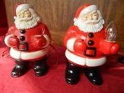 Vintage Lighted Santa Claus Christmas Decorations Ornaments Lot 2 Royal Electric