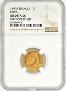 1899 A France 10 Franc Gold Coin Ngc Au Km 830 Late Head Ceres Uncirculated