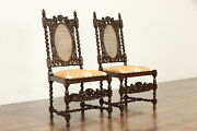 Pair Renaissance Oak Antique Dining Desk Or Hall Chairs Carved Angels 36871