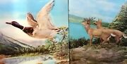 Vtg Lenticular 3d Picture 2 Lot Nature Duck Deer Lake Mountain 13andrdquox10.5andrdquo Japan